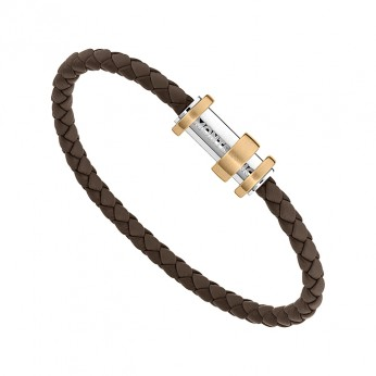 Montblanc 11855863 Bracelet, leather brown 3-rgs bronze, 63