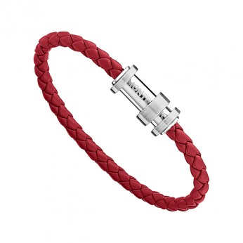 Montblanc 11888163 Bracelet, steel red, leather, RED, 63